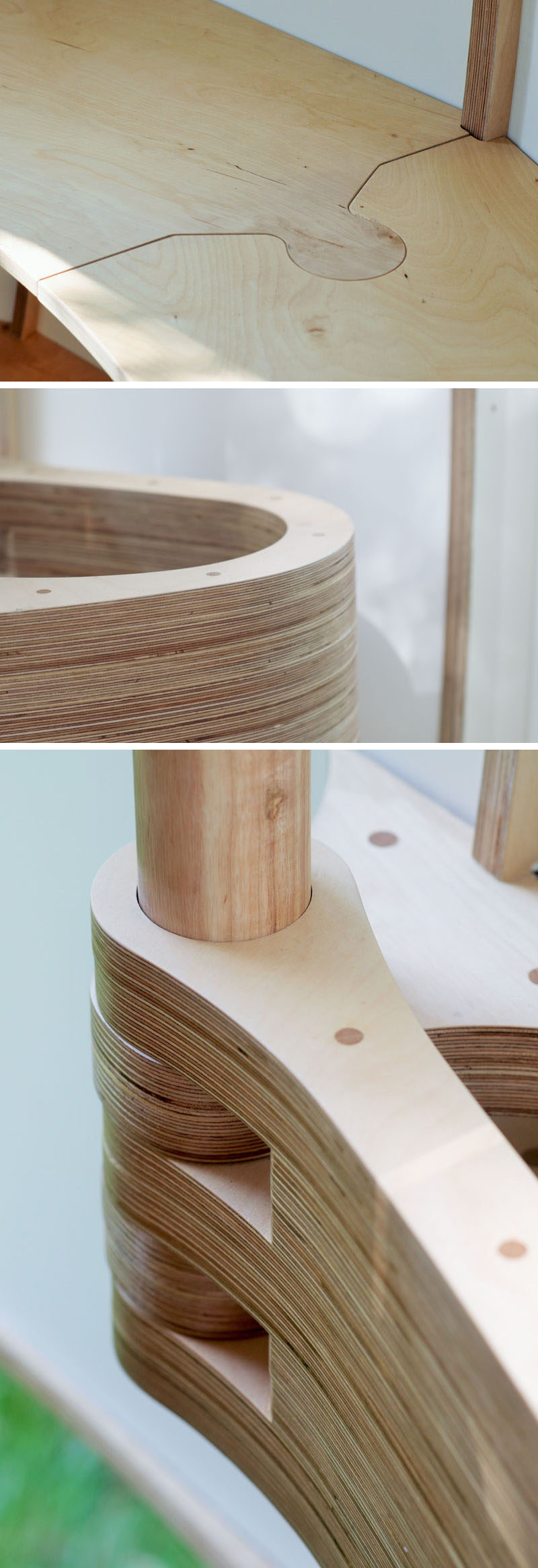 Examples of CNC milled woodwork featured in a pod-like backyard studio. #CNC #Woodworking