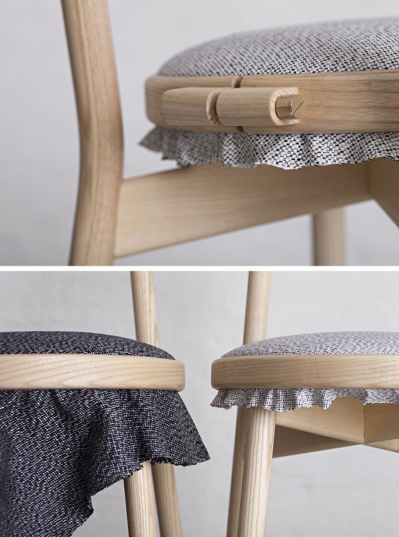 An embroidery ring allows the upholstery to easily be changed out on this dining chair