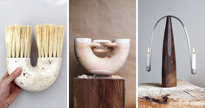 Sculptor and woodworker Ariele Alasko, has created a collection of modern wood abstract sculptures and home decor items like brushes, trays and candle holders. #Sculpture #HomeDecor #Wood