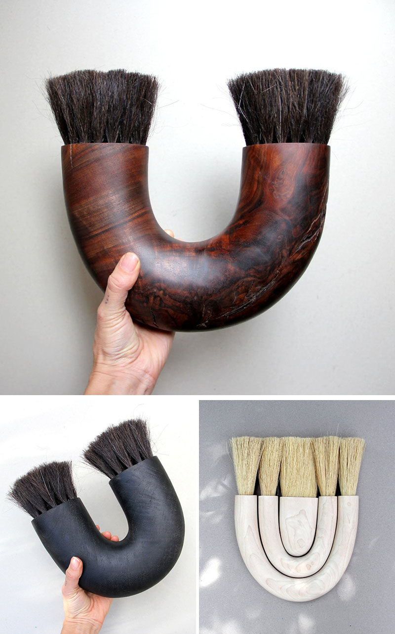 Sculptor and woodworker Ariele Alasko, has created a collection of modern wood abstract sculptures and home decor items like brushes, trays and candle holders. #Brushes #HomeDecor #Wood