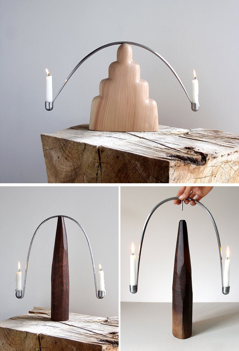 Sculptor and woodworker Ariele Alasko, has created a collection of modern wood abstract sculptures and home decor items like brushes, trays and candle holders. #CandleHolder #HomeDecor #Wood