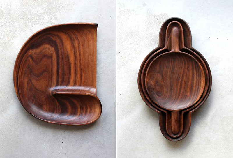 Sculptor and woodworker Ariele Alasko, has created a collection of modern wood abstract sculptures and home decor items like brushes, trays and candle holders. #WoodTray #HomeDecor #Wood