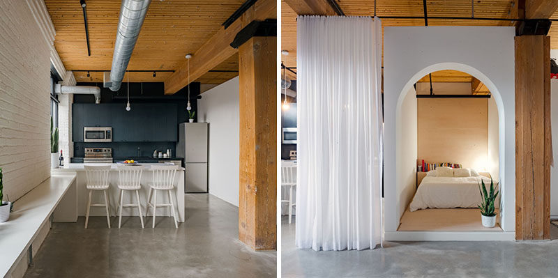 This Apartment Has A 'Bed Box' And Sheer Full Length Curtains For Privacy