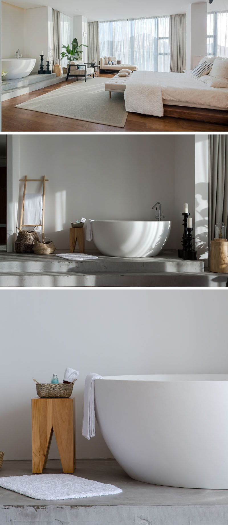 This modern apartment has a bath area with a freestanding deep soaking bathtub that's slightly raised up from the main floor and is defined by a concrete floor. #ModernBathroom #OpenBathroom #FreestandingBathtub
