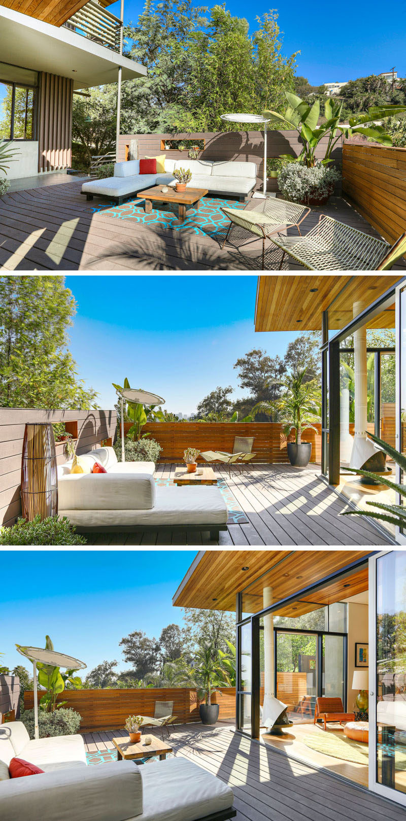 This contemporary house has a large deck with plenty of space for outdoor lounging. #Deck #OutdoorSpace