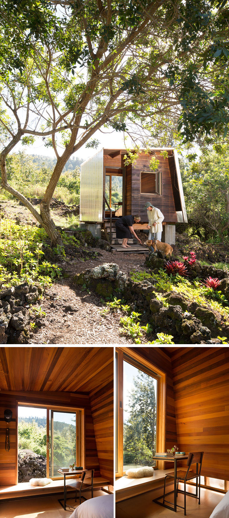 This small and modern cabin houses a small bedroom that looks out towards the lava flow through a large sliding window. Inside, the walls are covered in wood and there's just enough room for a bed, a built-in bench and a small desk with chair. #ModernCabin #Architecture