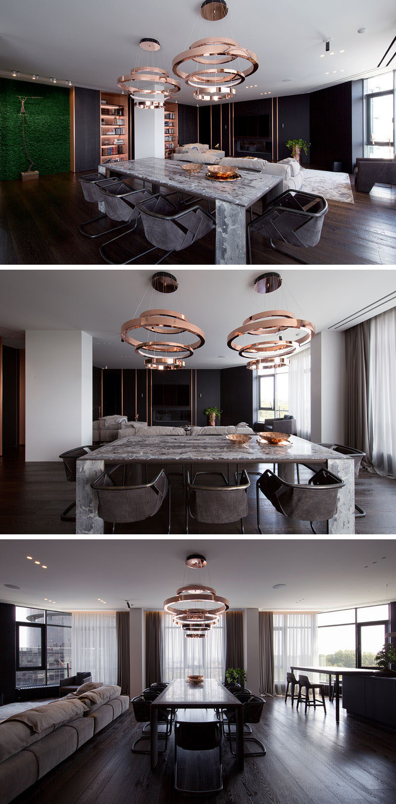 Two sculptural copper pendant lights hang above the dining table to anchor it in the open space of this modern apartment. #DiningRoom #CopperLighting #InteriorDesign