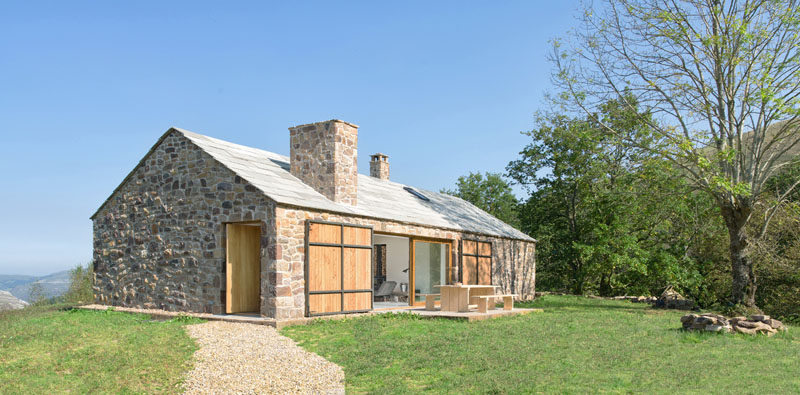 Laura Alvarez Architecture has designed Villa Slow, a stone cottage holiday retreat in the North of Spain that replaced where a stone-ruin once sat. #StoneCottage #ContemporaryCottage