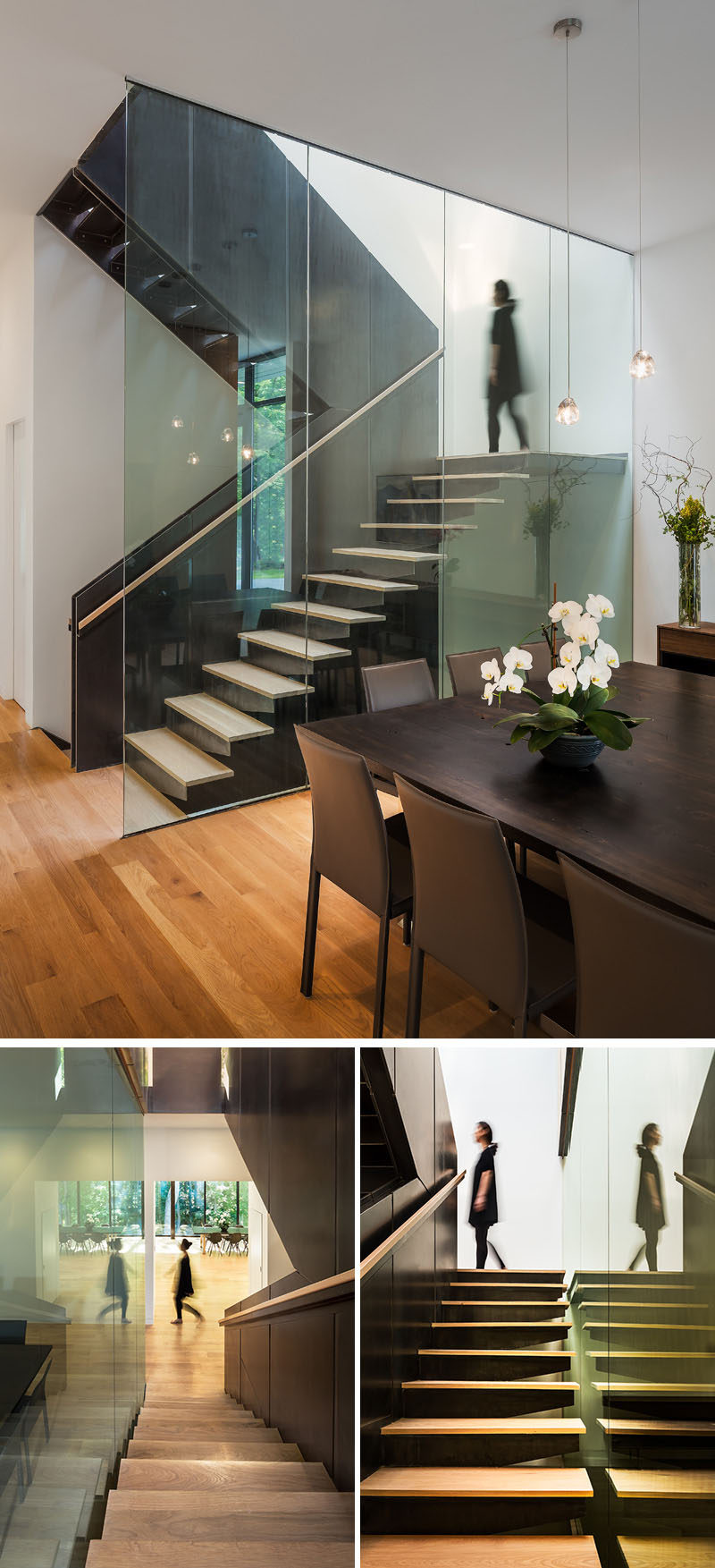 A staircase fabricated from wood and hot-rolled steel leads to the second floor of this modern house. #Stairs #Staircase #SteelStairs