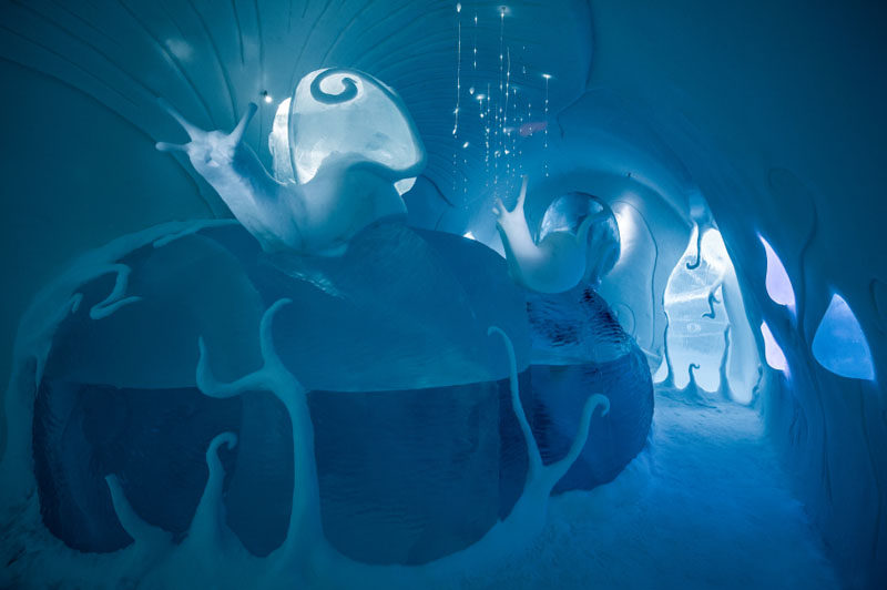The Swedish ICEHOTEL has opened for 2017. The hotel, which is made from ice, has a collection of art suites that are individually themed and are hand carved by artists from around the world. #ICEHOTEL #Sweden #Travel #Art #Sculpture