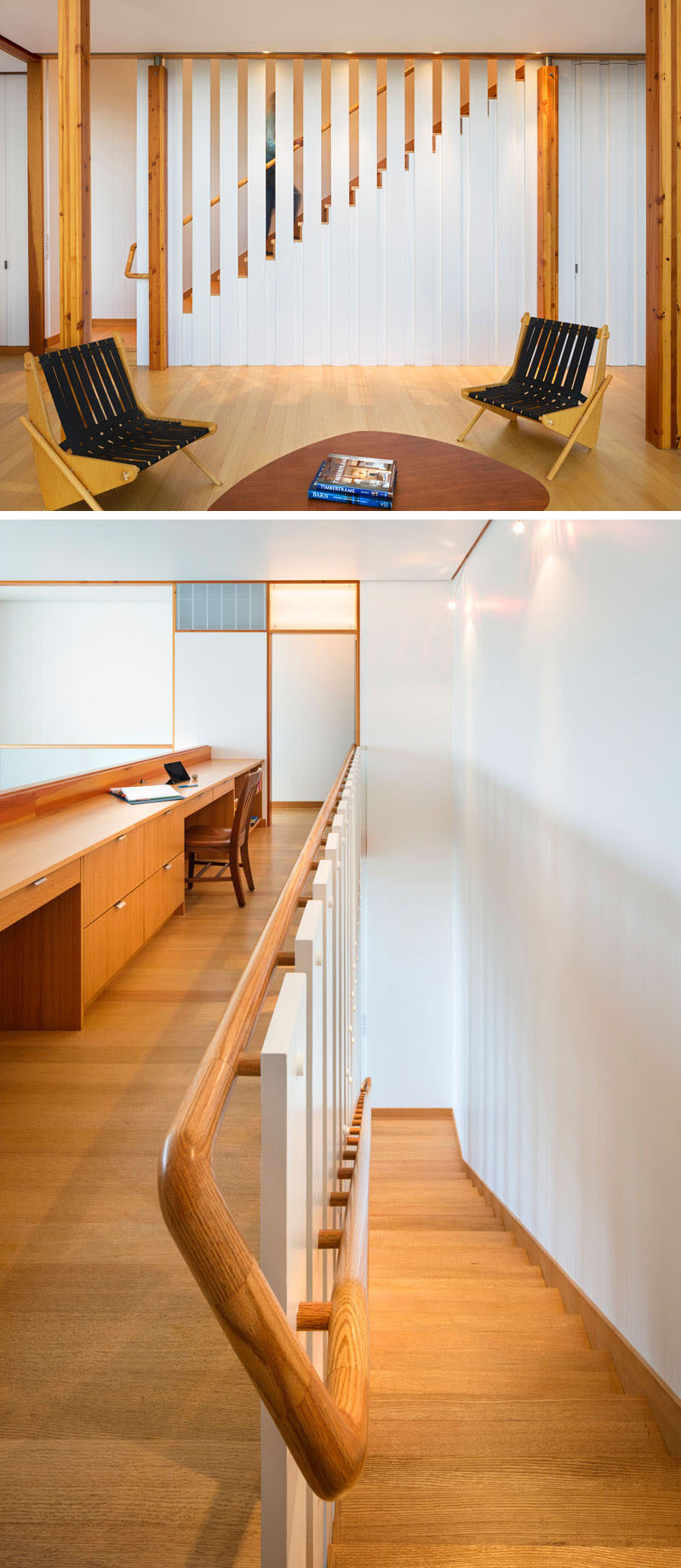 Wood has been used throughout the interior of this modern farmhouse to create a contrast with the mostly white interior. Stairs lead up to the second floor of the farmhouse, and at the top of the stairs, there's a home office area with a long built-in wood desk. #Wood #Desk #InteriorDesign