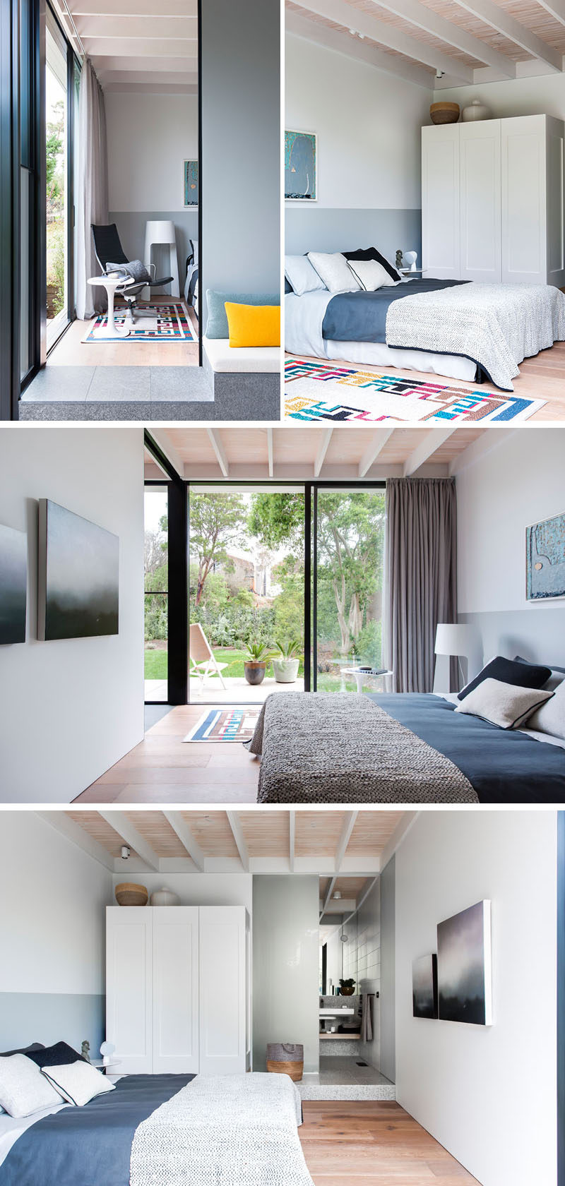 This modern bedroom has a sliding door that leads to the backyard, that provides plenty of natural light to the room that has grey and white walls with wood flooring. #ModernBedroom #BedroomDesign