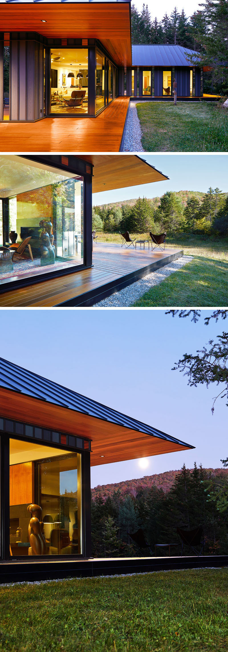 The exterior of this house has a standing seam black metal roof, hipped in all directions, that's been finished with a knife-edged cedar soffit and is aligned to the cedar deck below #ModernHouse #ModernRoof #WoodSoffit #Cedar