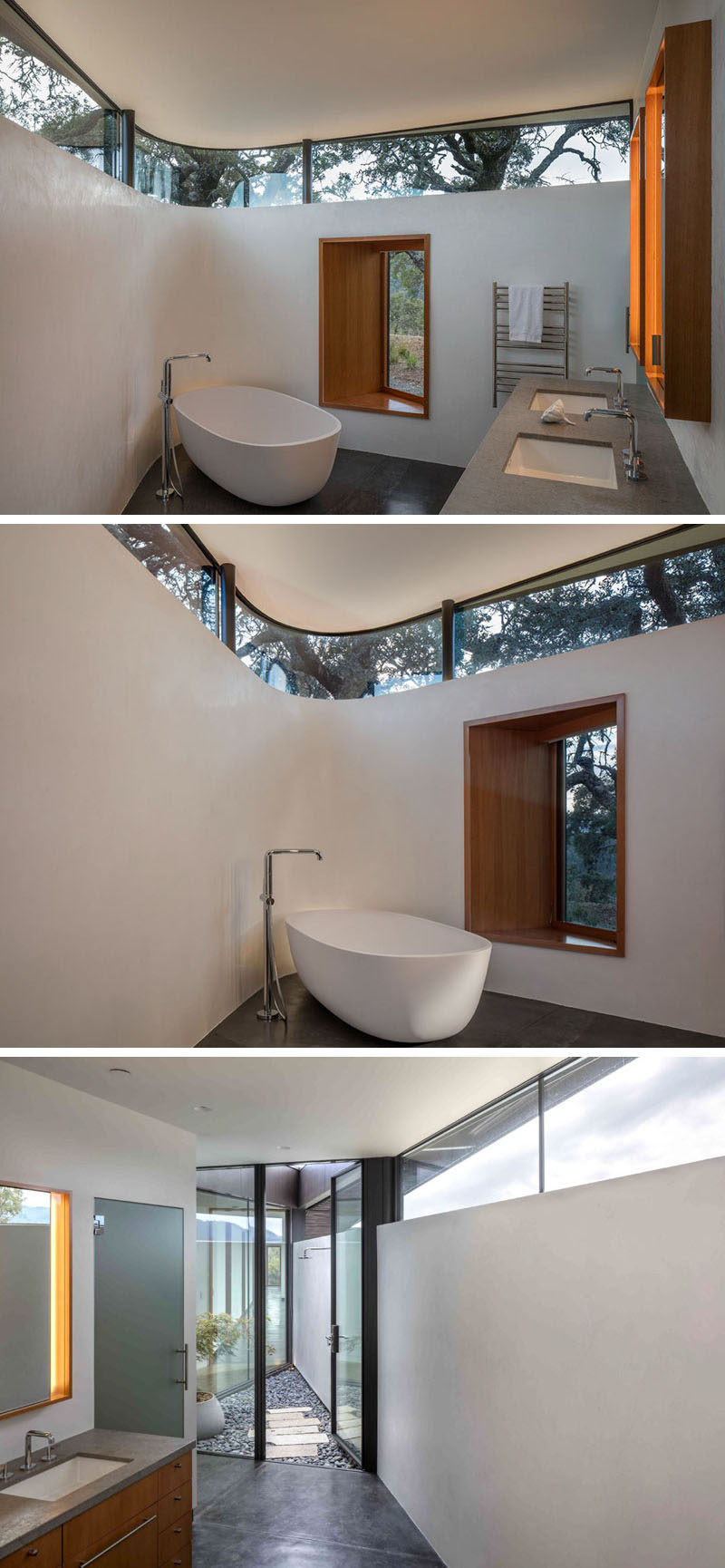In this modern bathroom, clerestory windows follow the curve of the wall and a wood framed window provides views of the surrounding landscape. A private outdoor shower can be accessed through a glass door. #OutdoorShower #ModernBathroom