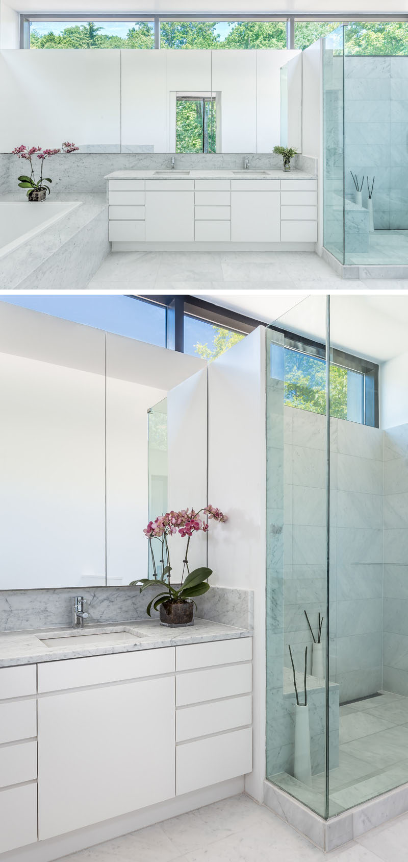 In this modern bathroom, minimalist white cabinets and a large mirror have been used to keep the bathroom bright. #BathroomDesign #WhiteBathroom