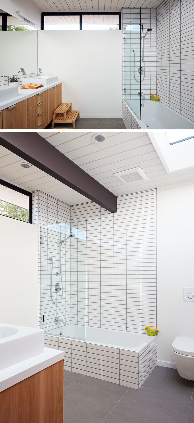In this modern bathroom, grey tiles have been used for the flooring, while a wood vanity adds a natural touch. In the shower/bath combo, dark grout has been used to accent the white rectangular tiles. #BathroomDesign #ModernBathroom