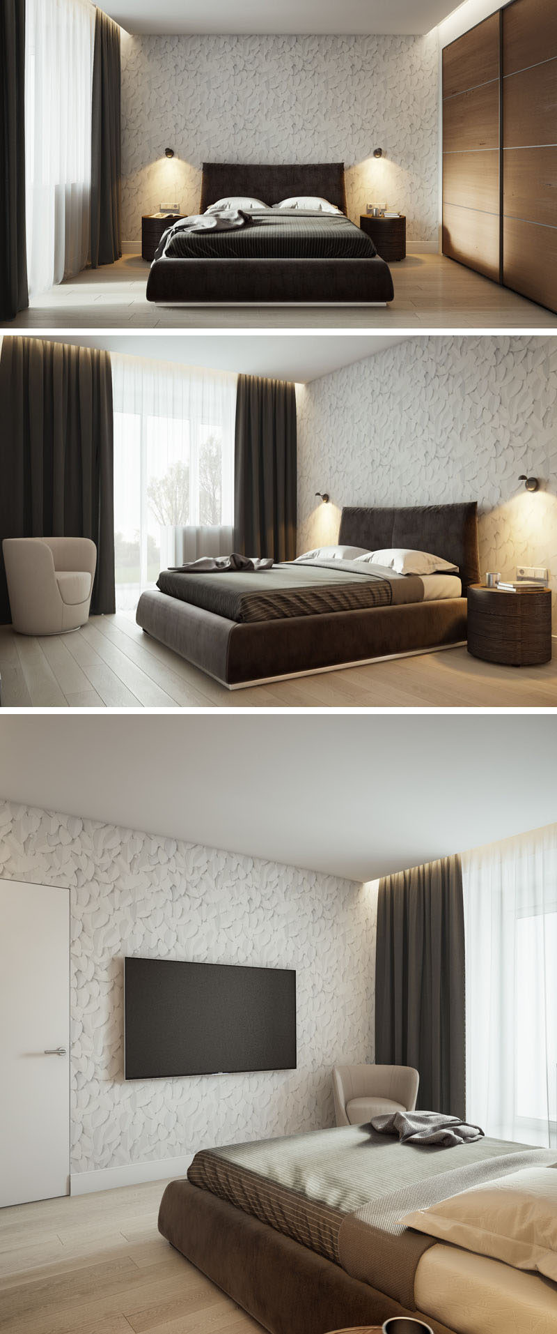 In this modern bedroom, wallpaper with a pattern of handmade sketches of leaves, adds a sense of nature to the room, while closets are hidden behind large sliding wood doors. #Bedroom #ModernBedroom