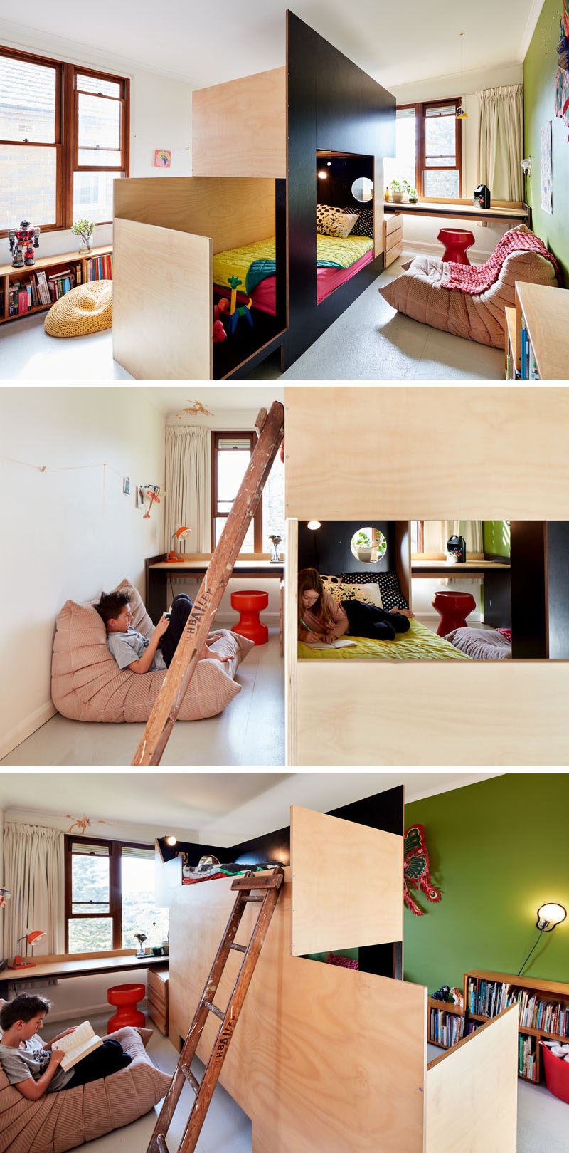 MAKE have collaborated with Tanguy Le Moing to create a bunk bed that splits the bedroom in two, creating a separate space for each child. #BunkBed #ModernBedroom #KidsBedroom