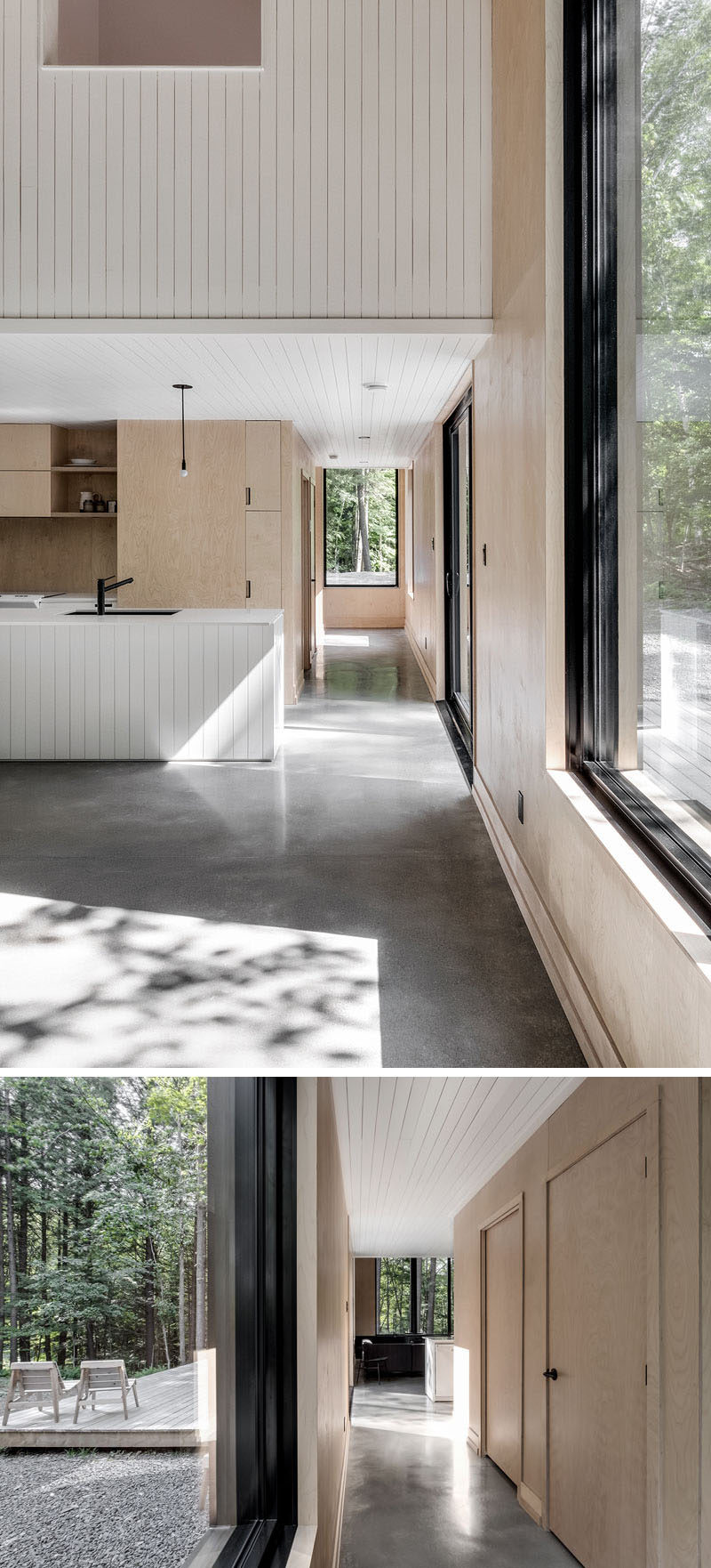 Polished concrete flooring, wood walls and a white accents have been combined to create a contemporary interior for this modern cottage. #ConcreteFlooring #WoodWalls