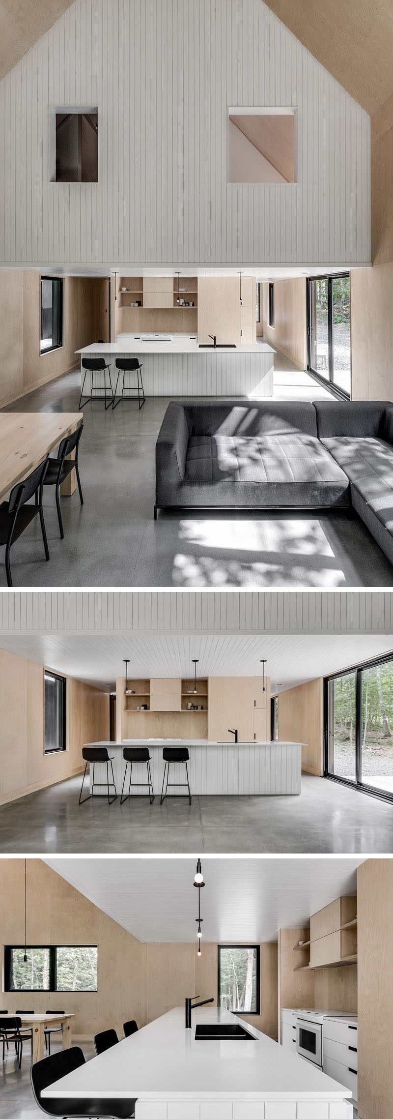 Inside this modern cottage, a high vaulted ceiling creates a sense of openness, while the kitchen is located behind the dining room and living room, and underneath the upper floor of the home.#VaultedCeiling #KitchenDesign #WhiteAndWoodKitchen