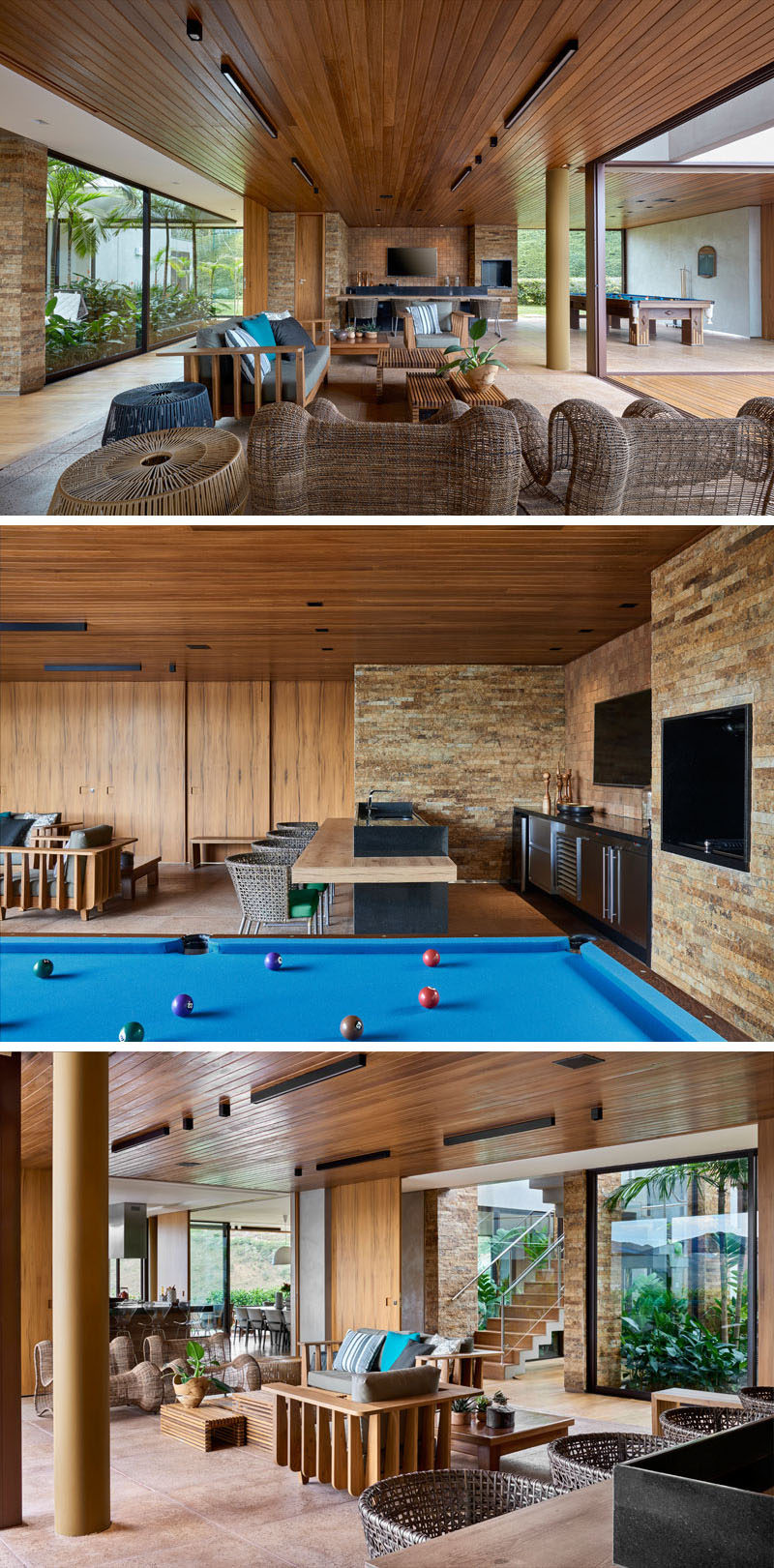 This modern house has an entertaining area with a lounge, bar and pool table, that opens up to a deck and swimming pool. #EntertainingArea #InteriorDesign