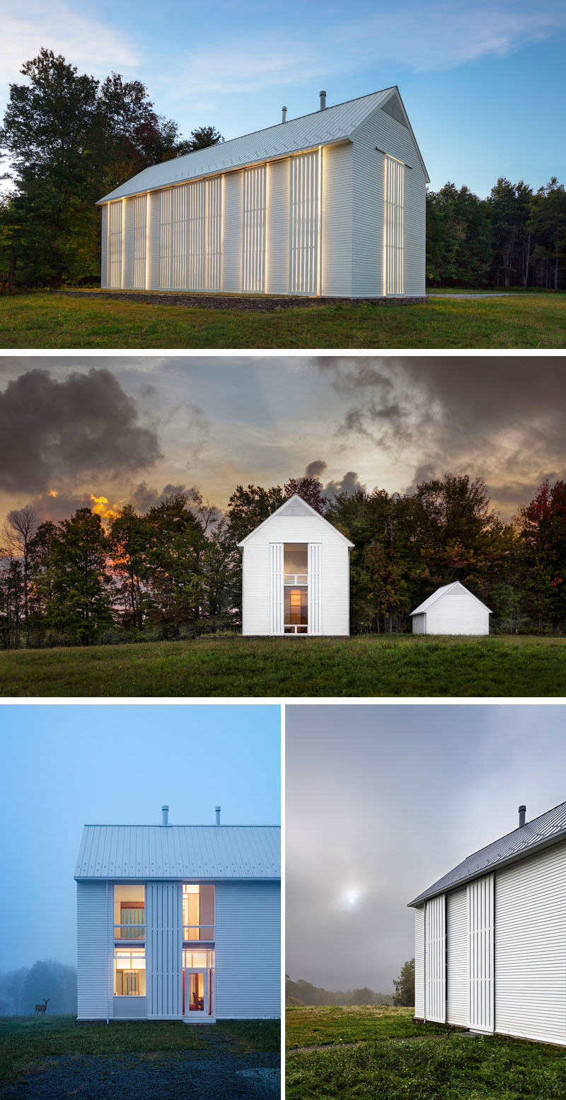 Cutler Anderson Architects have completed a modern farmhouse for a large family on a 93-acre farm in northeastern Pennsylvania, that was designed to fit in with the surrounding farming community. #Farmhouse #ModernArchitecture