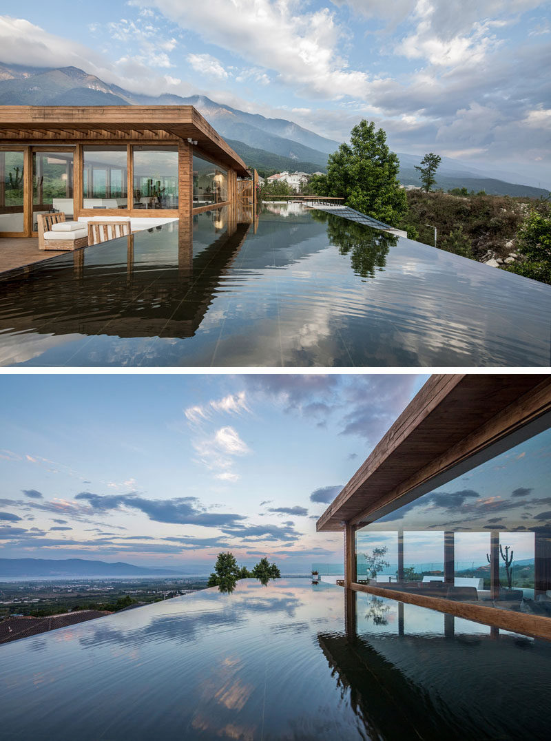 At the top of this hotel, there's arectangle wading pool with sweeping views of the mountains and the surrounding local area. #WadingPool #Pool