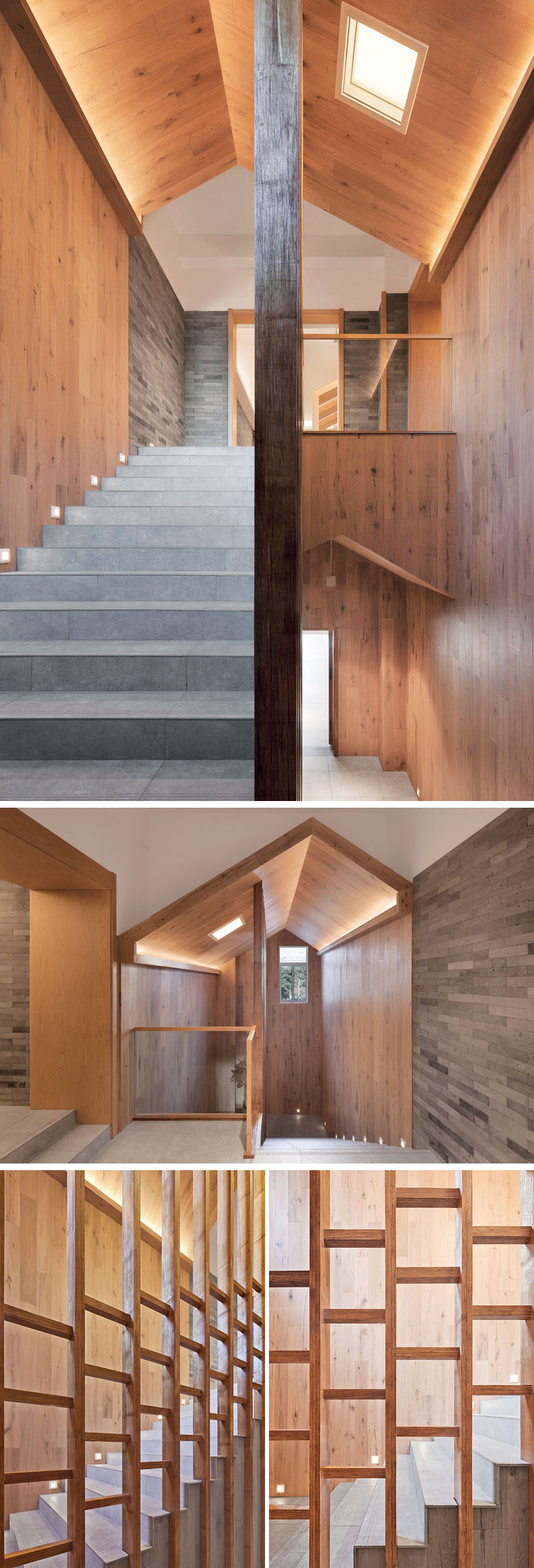Stairs surrounded by wood lead to the upper floor of this modern hotel, while a skylight and hidden lighting make sure the stairwell is bright and well lit. #ModernHotel #Stairs #Wood #Lighting
