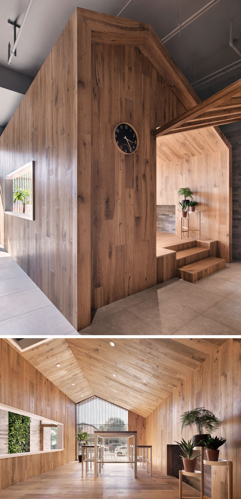 This modern hotel has a 'little house' that's made from wood and if furnished with a table and stools that look out onto street and the entrance of the hotel. #ModernHotel #HotelDesign