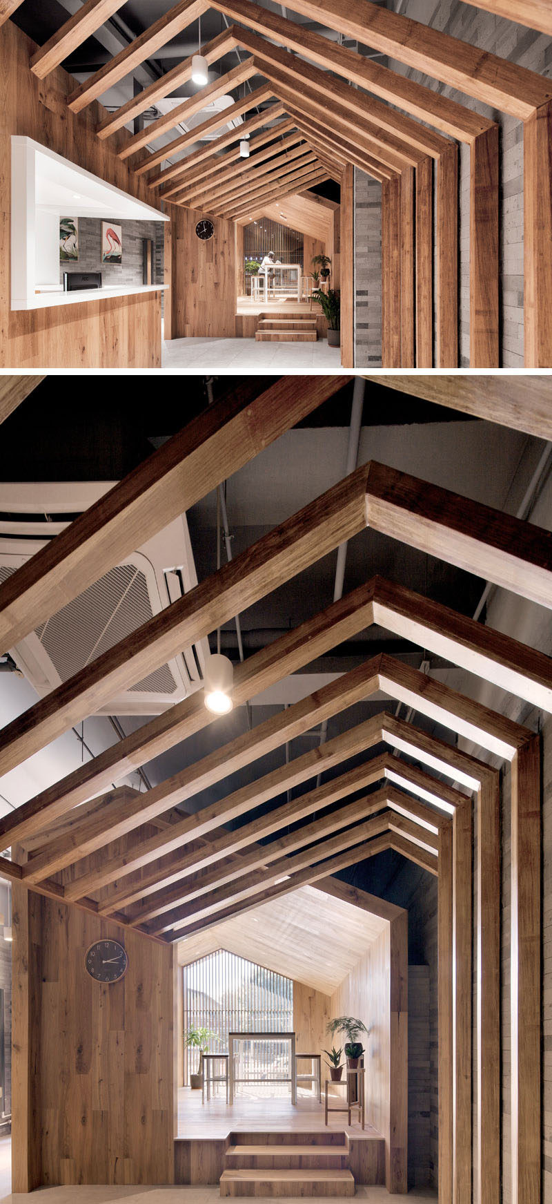 Wood and bricks are used throughout this modern hotel to create a sense of alleyways and separate spaces. #ModernHotel #HotelDesign #Wood