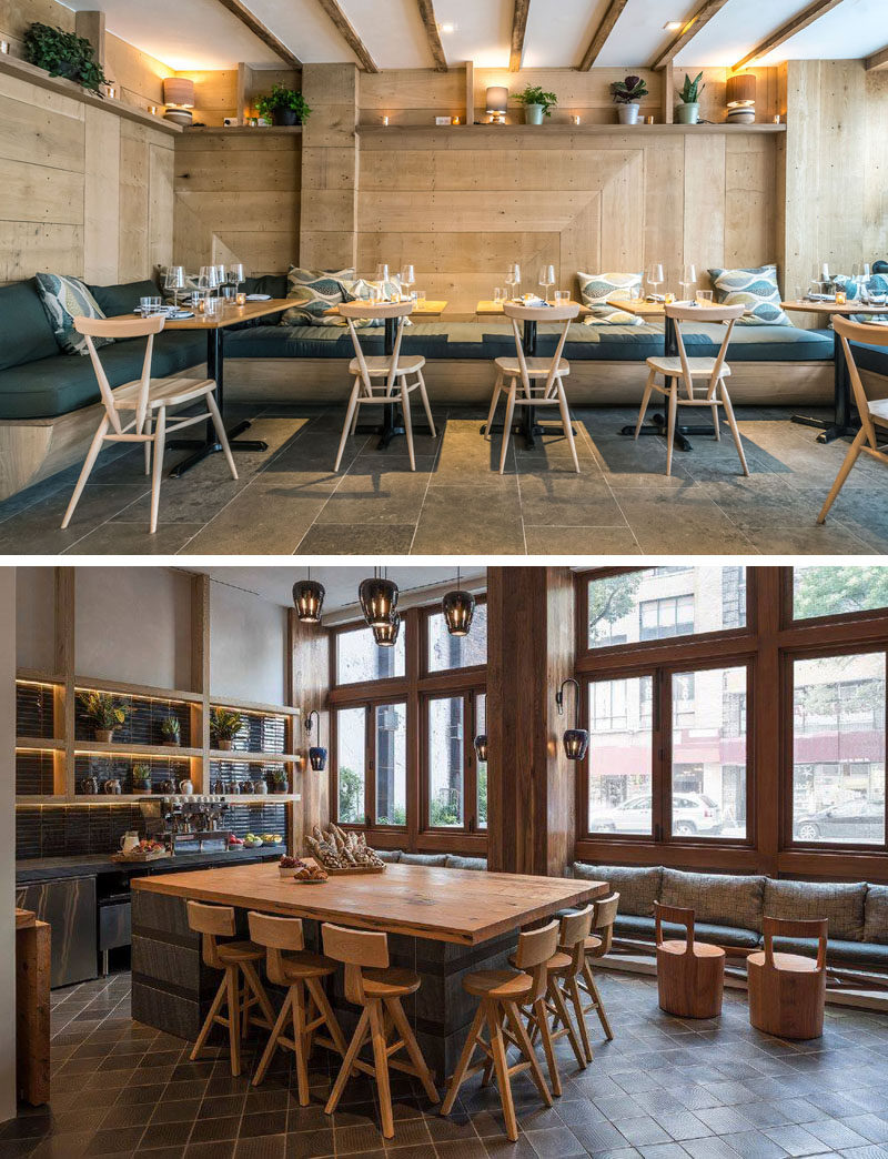 This modern hotel has a restaurant named Ferris, that features wood walls and relaxed seating, as well as a tea/coffee area named Paper. #ModernHotel #RestaurantDesign