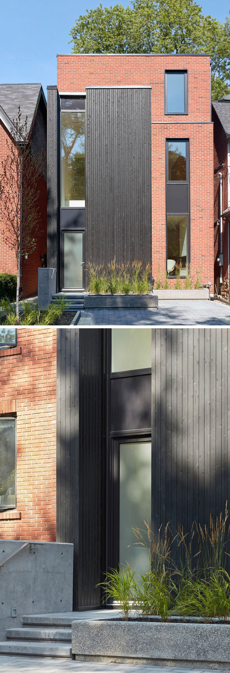 This modern house in Toronto features tall slender windows with a red brick and black-stained cedar facade. #ModernHouse #BlackCedar #RedBrick #Facade