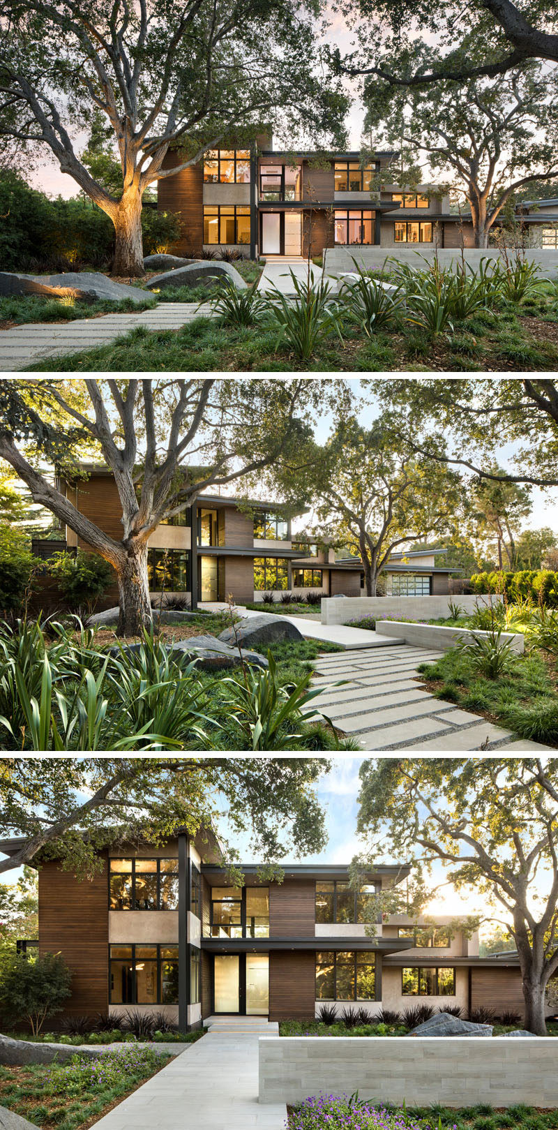 This modern house has small plants and grasses that surround established trees that are highlighted with the use of lighting, and a path leads to the front door. #ModernLandscaping #ModernGarden #ModernHouse