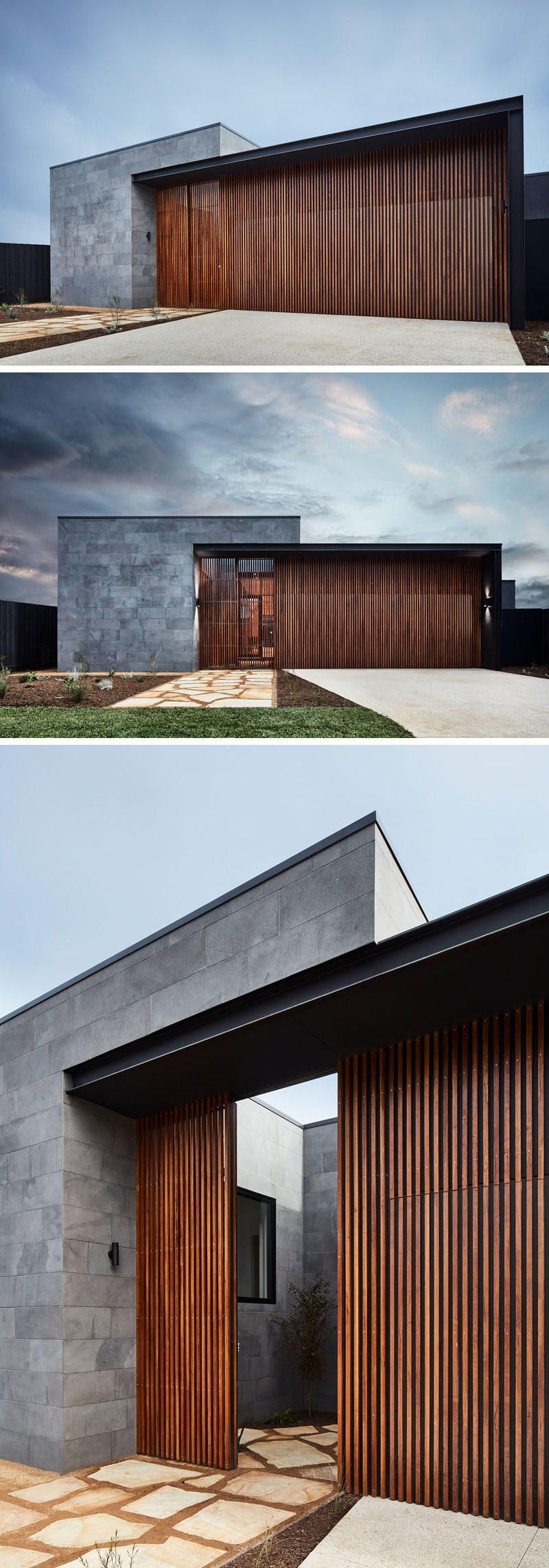 This modern house has a facade of horizontal bluestone slabs and vertical natural hardwood. The front door to the home blends in with the vertical wood slats, creating a modern exterior. #ModernHouse #Stone #Wood