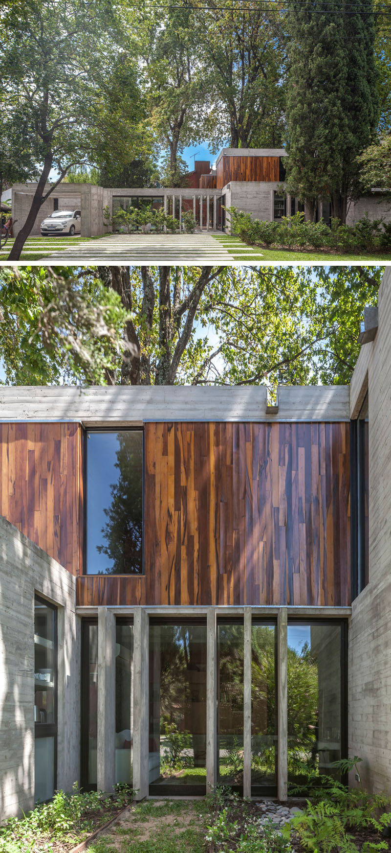 Besonias Almeida arquitectos have designed Casa Aranzazu, a modern concrete and wood house inBuenos Aires, Argentina, that sits on a corner lot surrounded by large trees. #ModernHouse #ConcreteHouse #Architecture