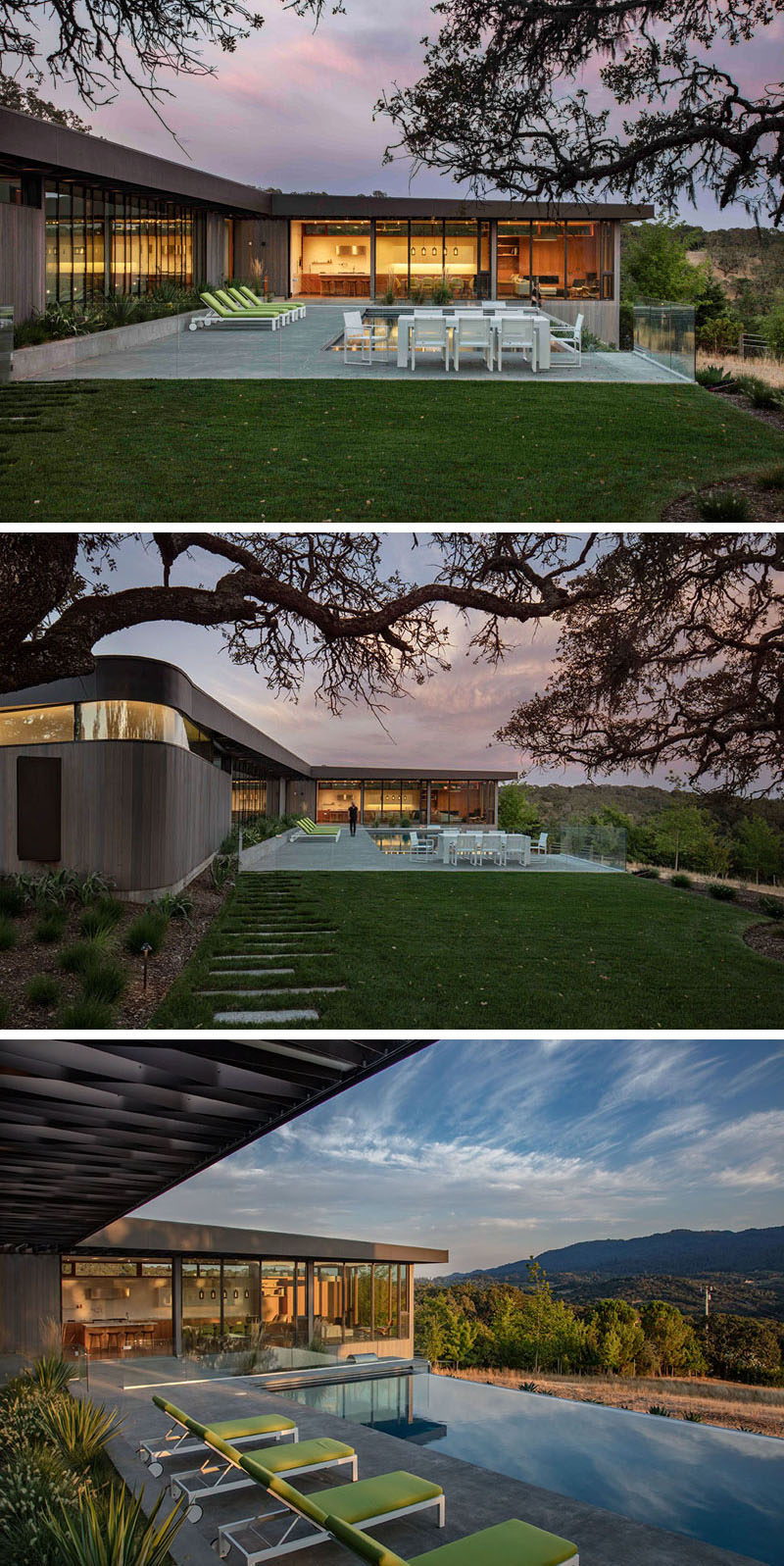 This modern house wraps around a patio and swimming pool, and at one end, there's an outdoor dining area. #SwimmingPool #Patio #OutdoorDining
