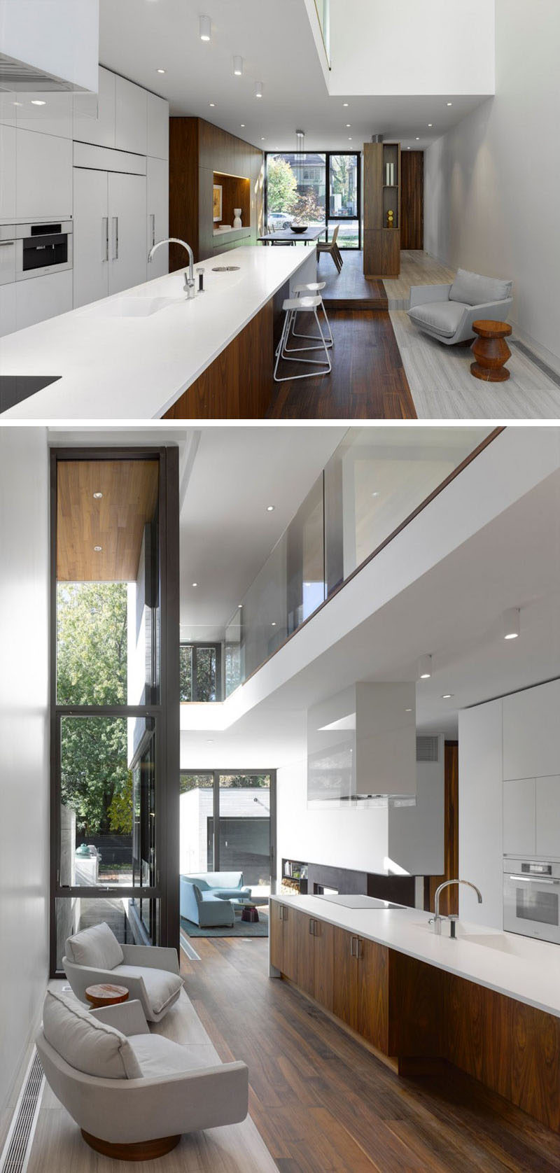 The layout of the main floor of this modern house has the dining room looking out onto the street, while the kitchen with its white minimalist cabinets, leads to the living room at the rear of the house.#ModernInteriorDesign #KitchenDesign