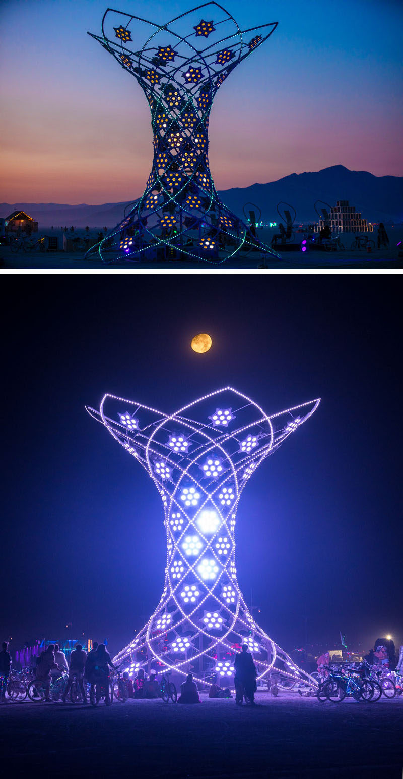 Ilumina is a 37-foot tall interactive art installation that was designed by Pablo Gonzalez Vargas and was shown at Burning Man 2017. #Sculpture #ArtInstallation #Design #Art