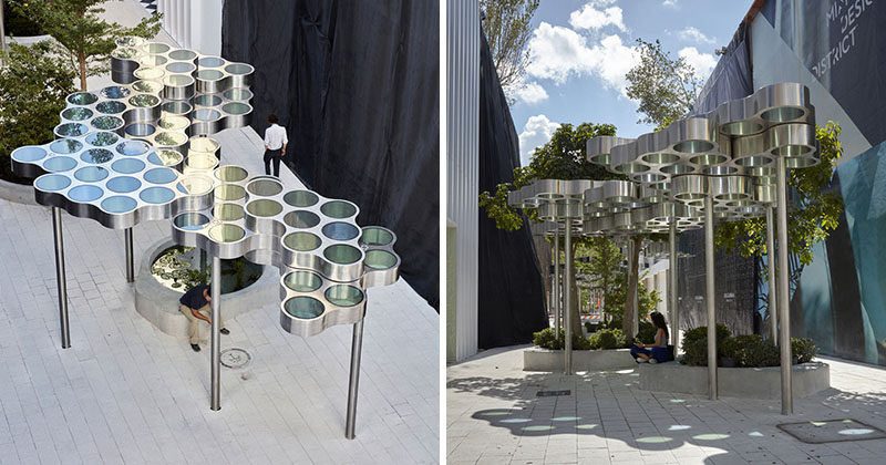 Ronan & Erwan Bouroullec have unveiled 'Nuage, promenade', a modular and modern pergola that runs through the heart of the Miami Design District. #ModernPergola #Design #Installation