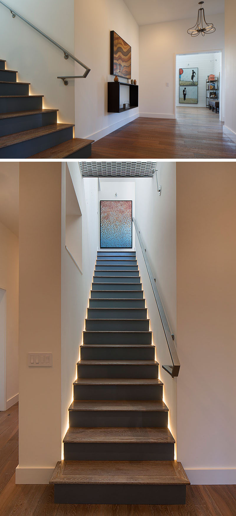 Dark wood stairs lead to the upper floor of this modern house. Hidden lighting runs along either side of the stair treads, highlighting the design. #Stairs #Lighting #WoodStairs