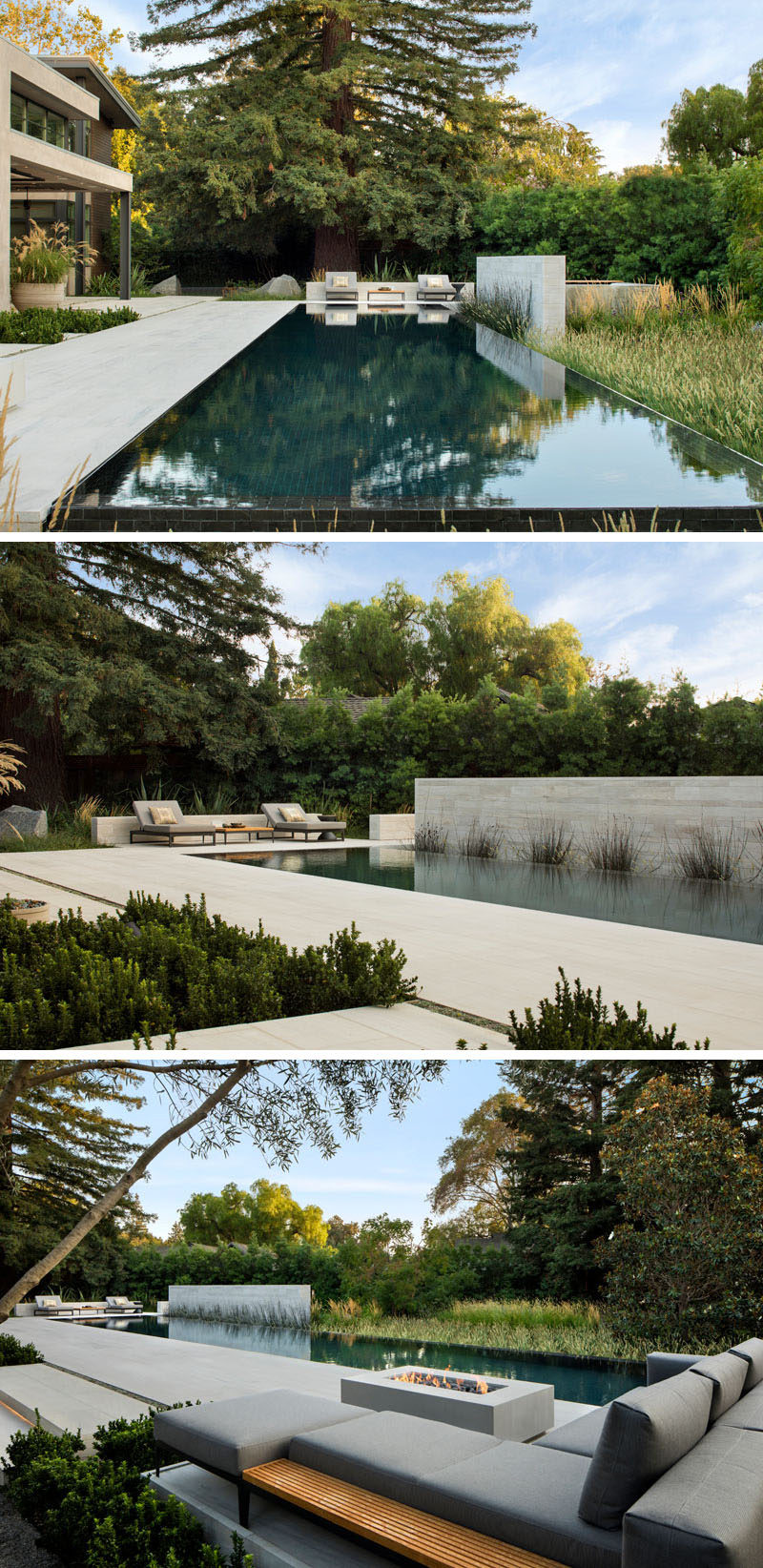 With tranquil views of the lush landscape and redwoods reflecting on the pool, the outdoor fire pit and lounge area form a relaxing outdoor space. #SwimmingPool #Landscaping #Firepit