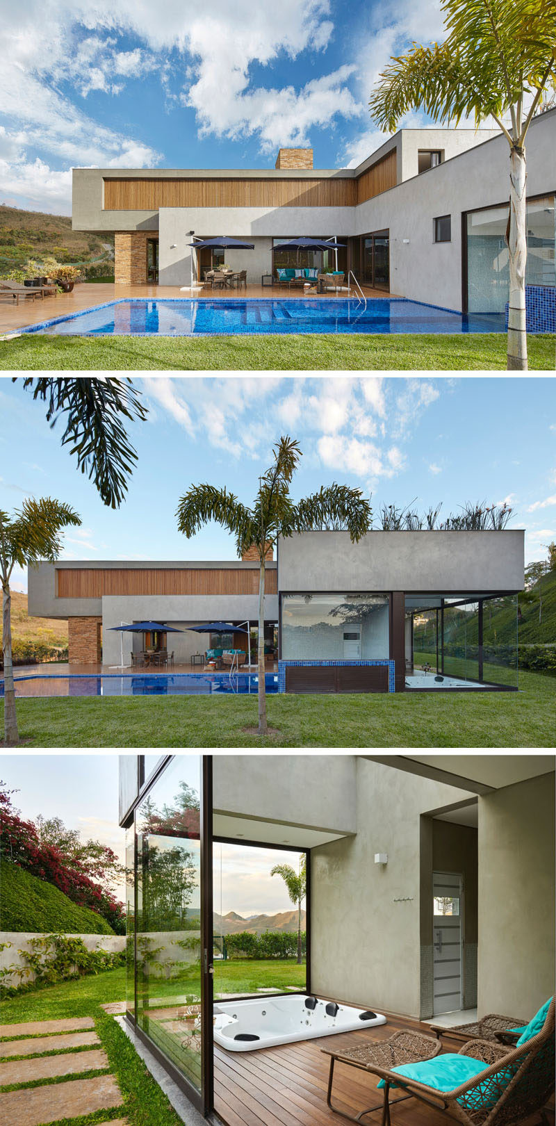 This modern house in Brazil has a swimming pool with a large deck. Beside the swimming pool is an enclosed hot tub that can be enjoyed year round. #SwimmingPool #HotTub #Spa