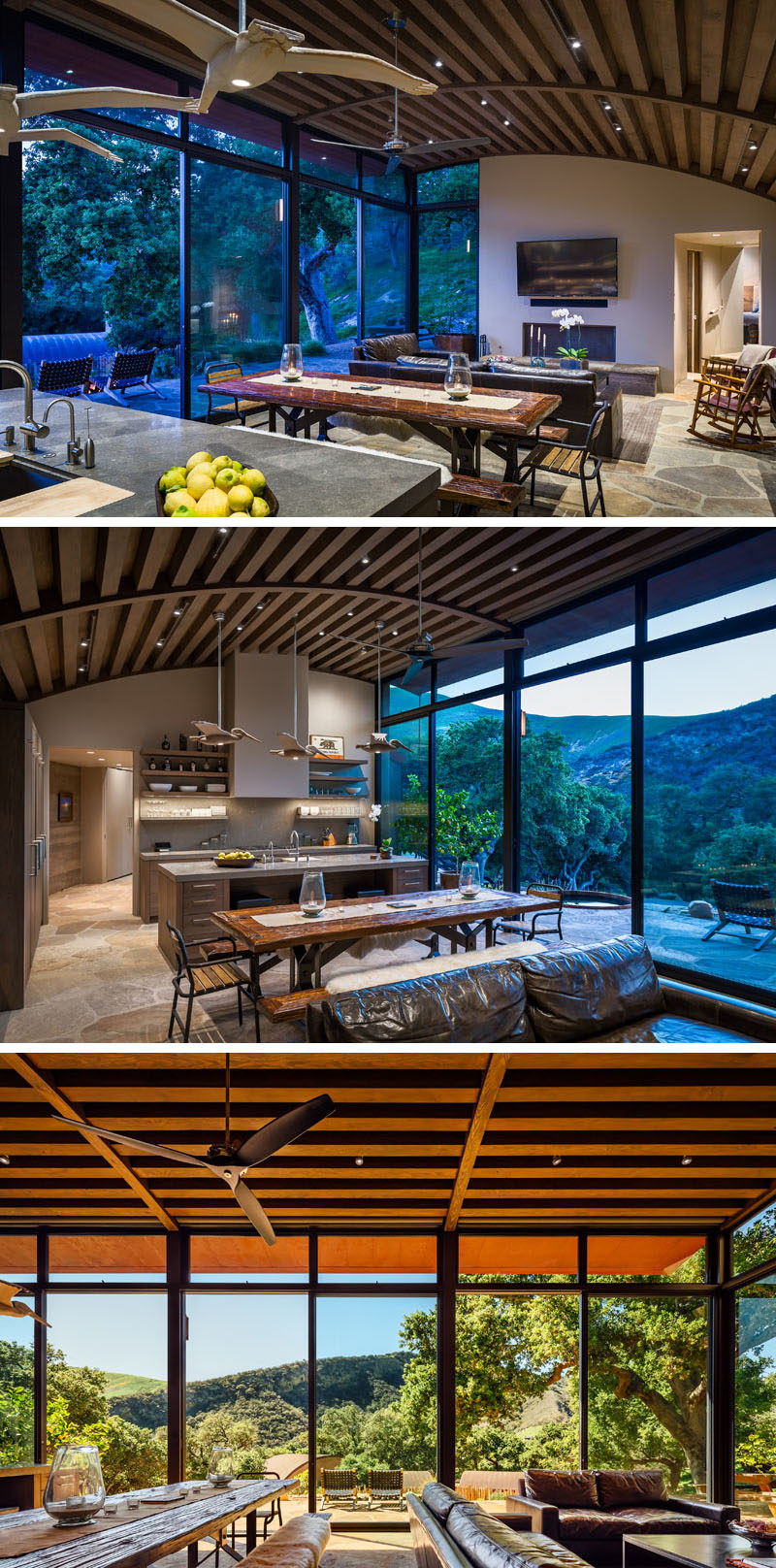 Inside this rustic modern house, Douglas fir beam ceilings draw your eye to the curved ceiling, while the living room, dining room and kitchen all share the same open space. Large windows and sliding doors look out to the valley, and open up to the patio outside. #CurvedCeiling #OpenPlan #InteriorDesign