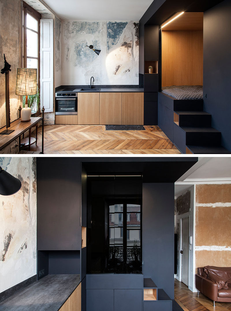 Interior design firm Batiik Studio, have transformed a run down Parisian apartment into to a functional space with a custom built lofted bed unit. #InteriorDesign #LoftBed #SmallApartment #Storage