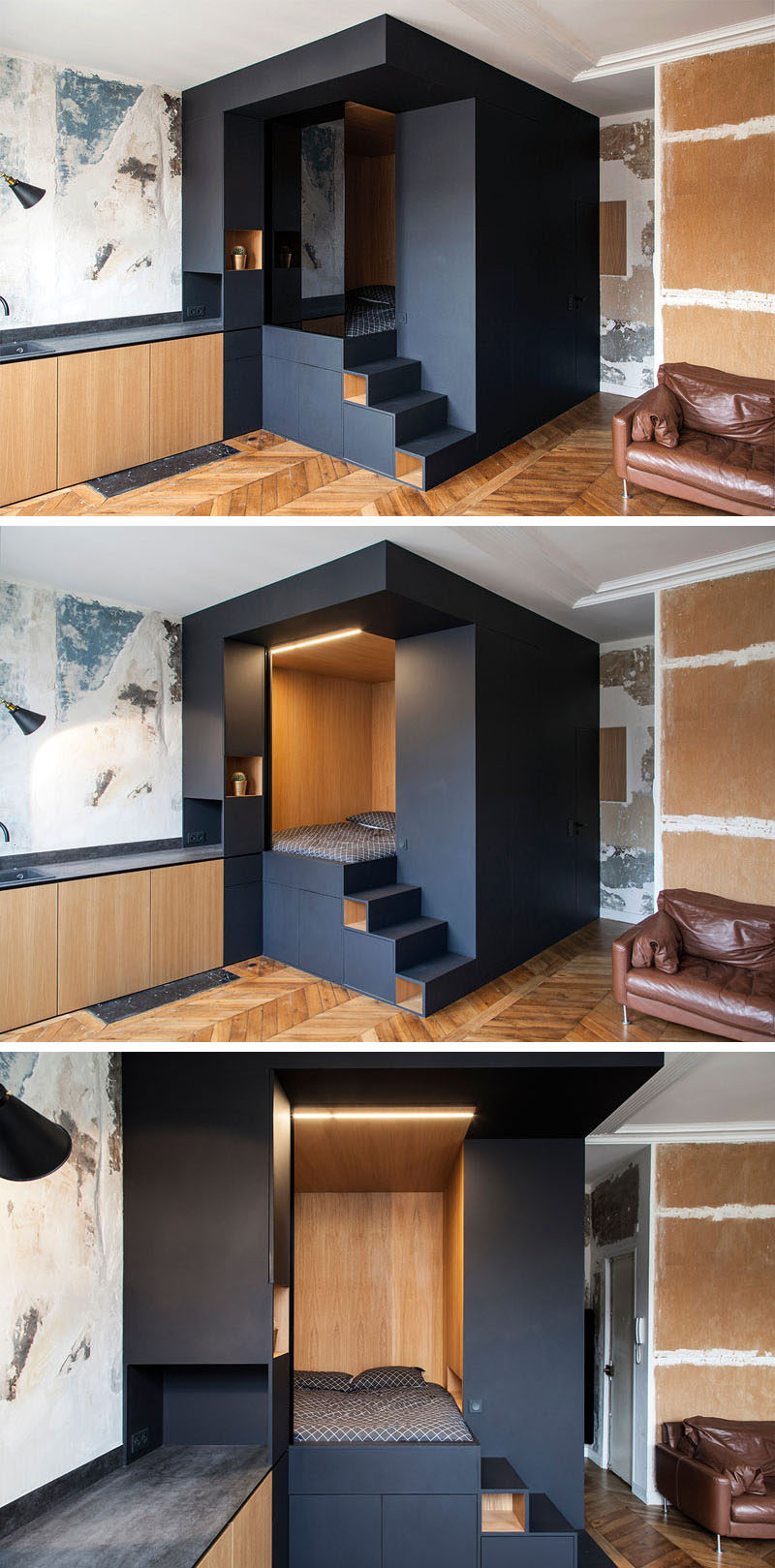 A custom designed bedroom box was added to this small - Small apartment bedroom ideas ...