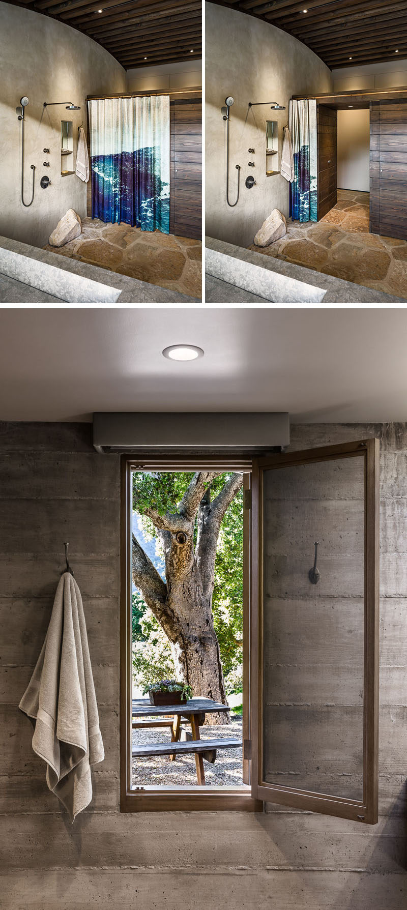 This rustic modern master bathroom, set up in an open 'wet room' plan, has horizontal wood sections built from exposed kiln-dried framing lumber, that hide the water closet and clothes closets. The shower curtain is made from a salvaged waterproof banner ad that pictures the owner's son surfing. #RusticModern #BathroomDesign