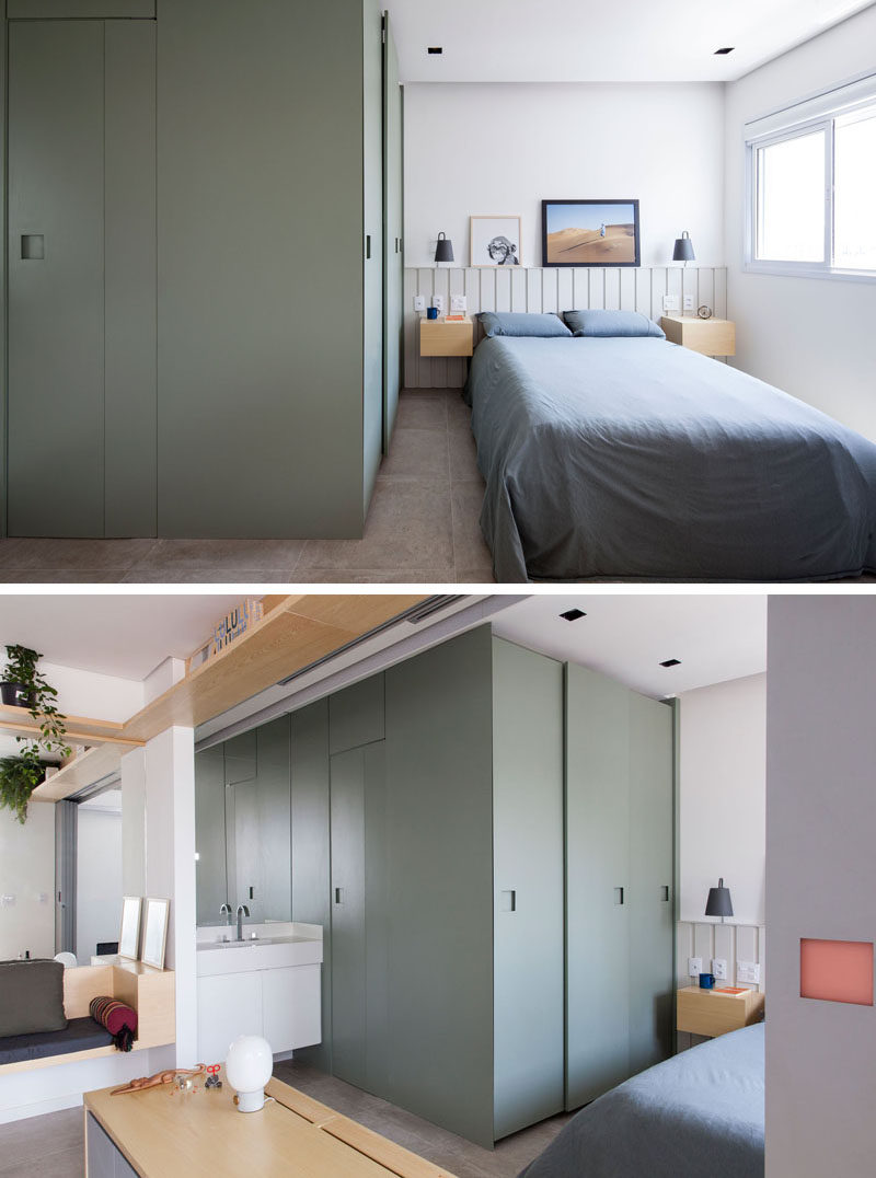 In this small and modern apartment, the bedroom is situated beside the windows, while the closet and bathroom are hidden within a green box. #SmallApartment #Bedroom #Bathroom