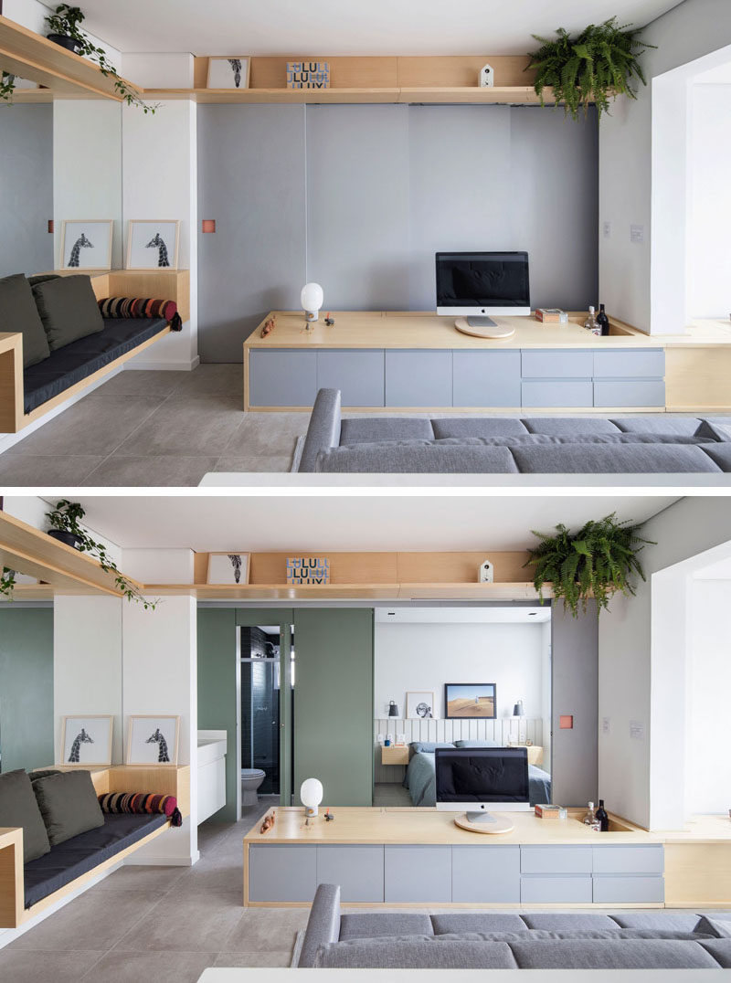 In this small and modern apartment, the wall behind the tv opens up to reveal the bedroom and the bathroom. #SlidingWall #HiddenBedroom #LivingRoom #SmallApartment