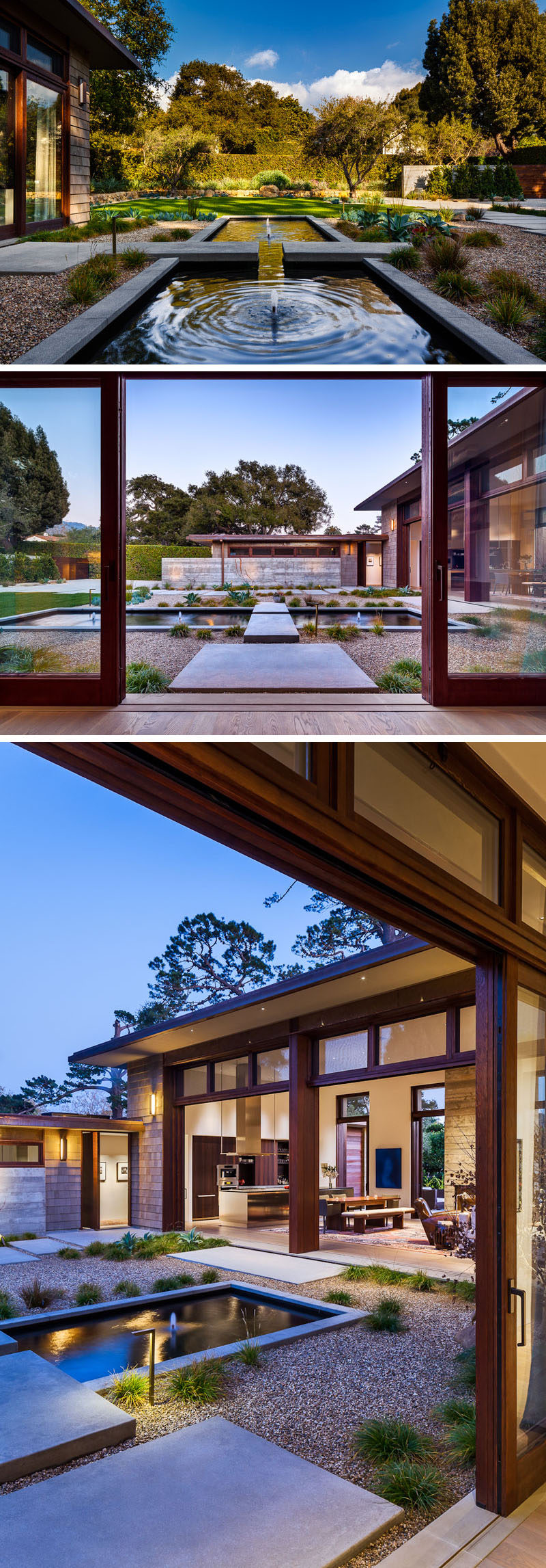 This modern house has a landscaped front courtyard with a water feature and a rock garden to create a contemporary garden, while a path runs along the side of the garage and leads to the pivoting front door. #LandscapeDesign #Landscaping #Garden #WaterFeature
