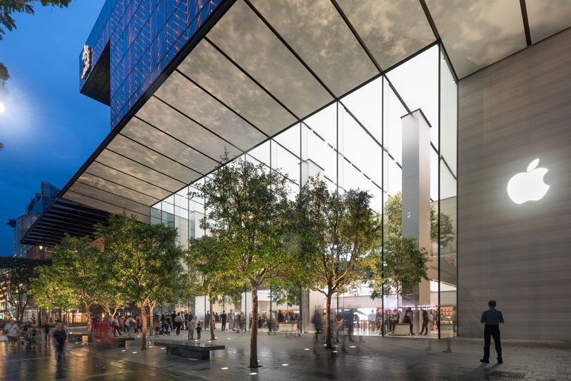 Foster + Partners have designed the flagship Apple store in Singapore that features a hand-carved stone staircase. #Staircase #AppleStore #Singapore